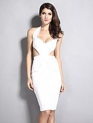 Women's Solid Black Dress , Sexy/Bodycon Halter/Deep V Sleeveless