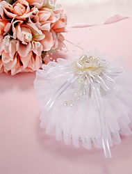 Organza Decorated Ring Pillow with Crystal and Flower