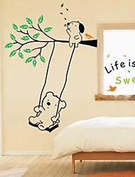 Wandaufkleber Wandtattoo, cartoon Bären schwingen PVC-Wandaufkleber
