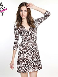 haoduoyi® Women's Leopard Print Knitted Elastic V-neck Wrap Dress