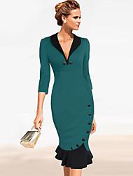 Monta Women's Fashion Casual Deep V Neck Dress