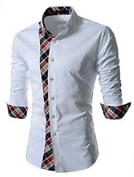 Men's Blue/White Shirt,Cotton/Polyester