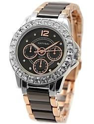 signore della donna di ceramica rotonda rosa acqua cinturino oro quarzo resistente orologio fw830n