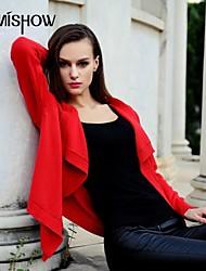 moitié de la mode col ouvert conception de couleur unie à manches longues Pull d'mishow®women