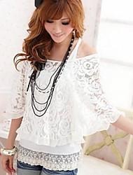 Women's Lace White/Black T-shirt/Vest , Off Shoulder ¾ Sleeve Lace