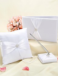 coleção do casamento elegante, situado em cetim branco (3 peças)