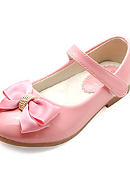 Girl's Fall Comfort / Round Toe Leather Casual Flat Heel Bowknot / Magic Tape Black / Pink / White