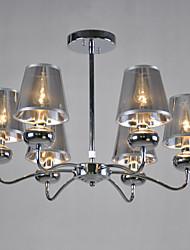 lustre vintage, 8 luz, tecido clássico pintura metálica