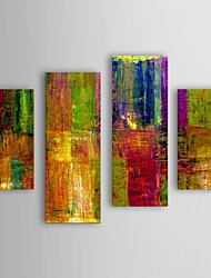 Oil Painting Modern Abstract Color Panel Set of 4 Hand Painted Canvas with Stretched Frame