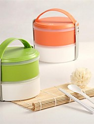 Portable Fresh-Keeping Box Lunch Box,Plastic 14.5×16×8.5 CM(5.8×6.3×3.3 INCH) Random Color