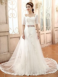 A-line / Princess Wedding Dress Court Train Sweetheart Lace / Tulle with