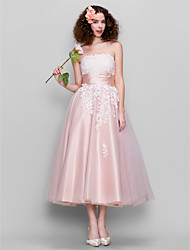 A-Line Strapless Ankle Length Tulle Stretch Satin Homecoming Prom Dress with Lace Ruching by TS Couture®