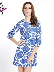 haoduoyi® Women's Blue Porcelain Print Long Sleeve Stretchy Chiffon Round Collar Lined Dress