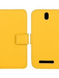 Solid Color Pattern Genuine Leather Full Body Case with Stand and Card Slot for HTC One SV