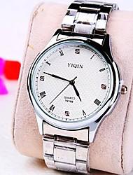 relógio de diamantes mostrador redondo roma banda de aço de quartzo moda masculina (cores sortidas)