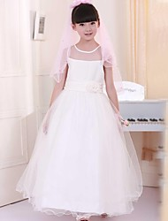 Girl's White Flower Multi-layers Long Party Pageant Wedding Bridesmaid  Kids Clothing Fashion Dresses