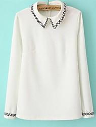 Women's Solid White/Green Blouse , Shirt Collar Long Sleeve