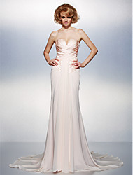 TS Couture Formal Evening Dress - Sexy Trumpet / Mermaid V-neck Court Train Chiffon Satin with Criss Cross