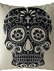 crânio preto de algodão / fronha decorativo linho impressa