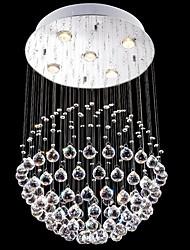 iluminación araña de cristal llevado 5 luces de plata moderna canpoy redonda de cristal k9 transparente accesorios salón