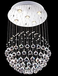 crystal LED Lighting lampadario 5 luci d'argento moderna canpoy rotondo in cristallo k9 trasparente infissi soggiorno