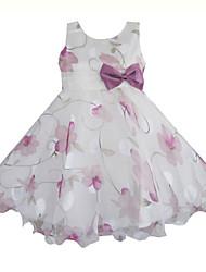 estampado de flores púrpura del desfile de la boda del partido del arco tul vestidos de ropa niños princesa de la muchacha