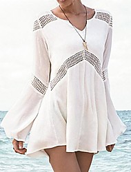 Women's Fashion Sexy Cotton Hollow-out Kintwear Long Sleeve Sun Prevention Beach Cover-up