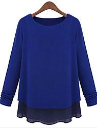 Peach John Women's Long Sleeve Slim Fashion Round Collar Thicken Chiffon T-Shirt
