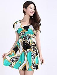 vestido estampado étnico cadena de fibra de viscosa delgada de las mujeres