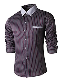 Men's Striped Casual Shirt,Cotton Blend Long Sleeve
