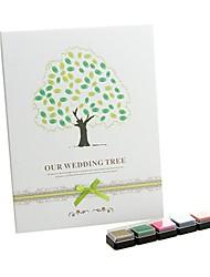 """""""Notre arbre de mariage"""" signature d'empreintes digitales livre d'or avec 5 couleurs tampon encreur"""