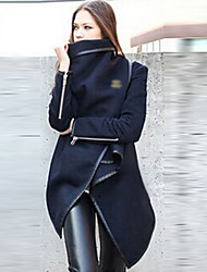 Tiffni Women's Causual Personality Asymmetric Windbreaker Trench Coat
