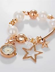 Women's Elegant pearl Pentacle Bracelet Watch Circular High Quality Japanese Watch Movement