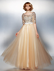 Dress - Champagne A-line Scoop Floor-length Tulle/Sequined