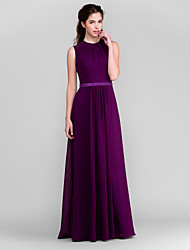 Lanting Bride® Floor-length Chiffon Bridesmaid Dress - Sheath / Column Jewel Plus Size / Petite with Beading / Sash / Ribbon