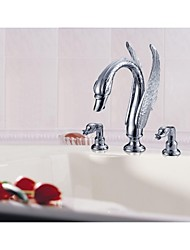 Two Handles Chrome Basin Faucet For Bathroom - Free Shipping  (S-1003001)