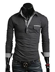 BIKELUN Men's Fashion Long Sleeve Lapel Bodycon T-Shirt