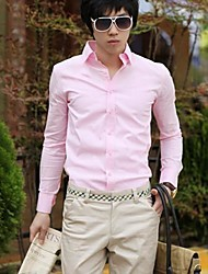 MAIDU Men's Fashion Candy Color Shirt Men's Leisure Long-sleeved Shirts