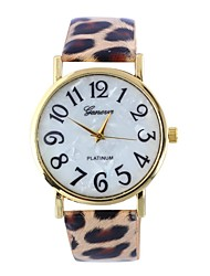 reloj superficie de la cáscara del cinturón de leopardo hembra de la correa circular movimiento china (colores surtidos)