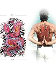 1 Pcs Waterproof  Large Pink Dragon Backing Pattern  Tattoo Stickers