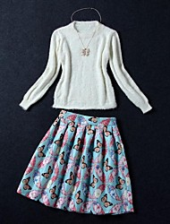 Women's Knit Sweater Butterfly Floral Print Suit (Sweater & Skirt)