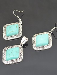 Toonykelly Vintage Antique Silver Plated Turquoise Stone(Earring and Necklace) Jewelry Set