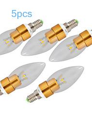 3W E14 LED Kerzen-Glühbirnen C35 1 SMD 250-300 lm Warmes Weiß Dekorativ AC 220-240 V 5 Stück