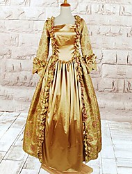 Long Sleeve Floor-length Yellow Cotton Gothic Lolita Dress
