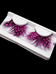 Pink Kiss Polka Dots Feather Carnival Eyelashes