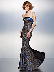 Mermaid / Trumpet Strapless Floor Length Lace Formal Evening Dress with Lace Pleats by TS Couture®