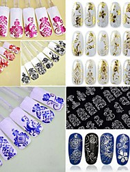 8Colorx 108 PCS  3D Flower  Nail Art Stickers