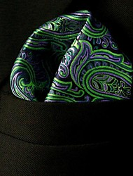 QH18 Shlax&Wing Paisley Green Purple Black Pocket Square Mens Hankies Hanky
