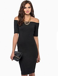 Women's Casual Dress Knee-length Polyester / Cotton Blends