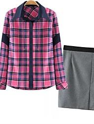 Women's Long Sleeve Grid Shirt Tight Skirt Suit(Shirt & Skirt)